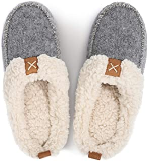 LongBay Ladies' Wool Felt Sherpa Memory Foam Slippers with Comfy Plush Fleece Lining Slip on Moccasin Slipper Clog Indoor ...