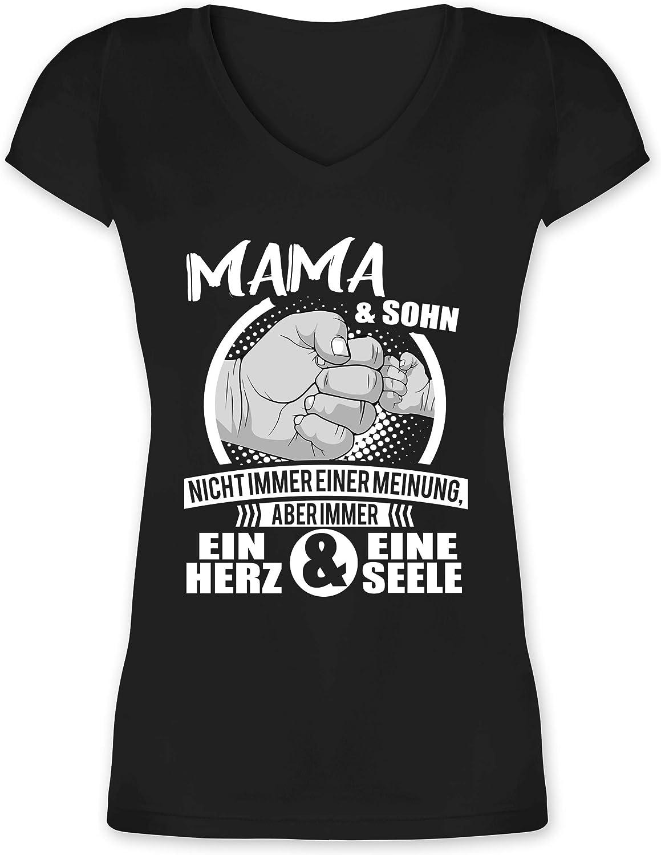 Mama /& Sohn Herz Seele Damen T-Shirt Spruch Muttertag Geburtstag Geschenk Idee
