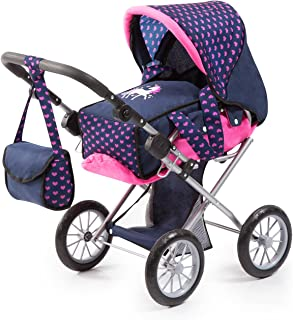Bayer Design 13654AA City Star in Modern Unicorn Design, Combi pram, with Removable carrycot and Shoulder Bag, with Adjustable Handle, for Dolls up to 46cm, Blue Pink