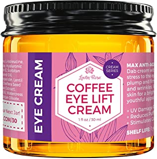 Coffee Eye Lift Cream by Leven Rose 100% Natural, Reduces Puffiness, Brightens Tired Eyes & Dark Circles, Anti Aging, Firm...
