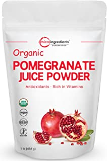 Organic Pomegranate Juice Powder, 1 Pound, Freeze Dried and Cold Pressed, Natural Antioxidant to Support Cardiovascular Health, Organic Flavor for Smoothie and Beverage, No GMOs and Vegan Friendly