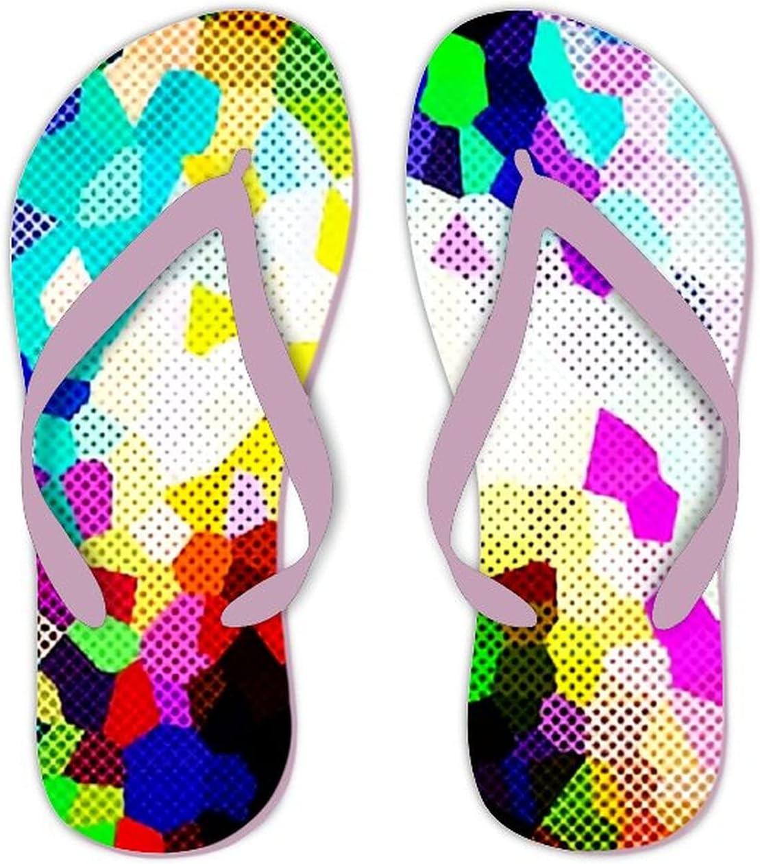 UTF4C Summer Flip Flops for Men Women Abstract Multicolor Color Background crystallise Soft Lightweight Non Slip Sandals for Shower Beach Pool Bathroom Flat 7.5