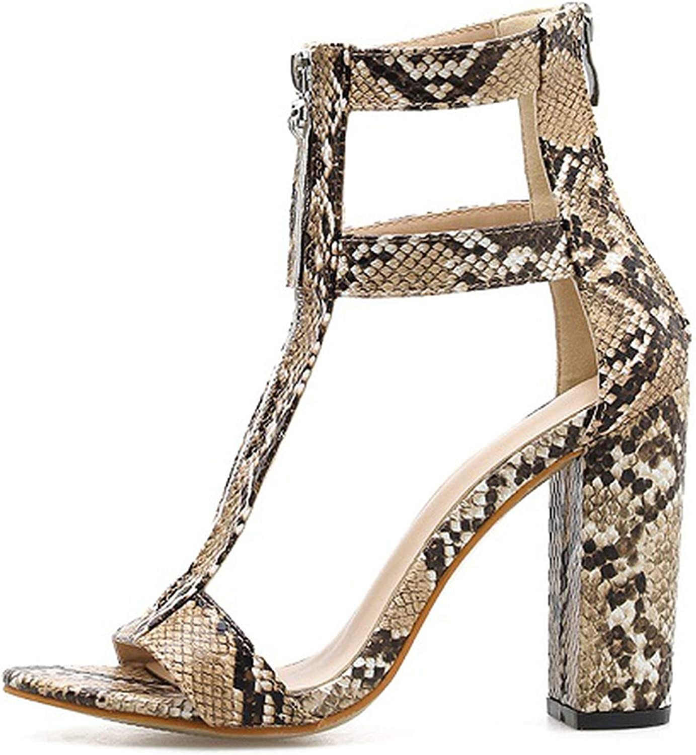 Ches Women Summer Print Serpentine Zipper Sandals Square Heel Sexy Peep Toe Black Gladiator Sandals shoes Size 35-40