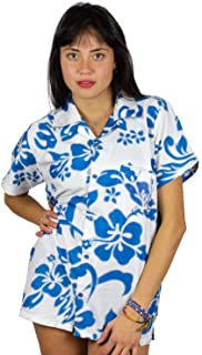 V.H.O Funky Hawaiian Shirt Blouse Women Short-Sleeve Front-Pocket Hibiscus Palms Summer Turquoise on White