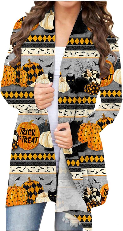 Halloween Costumes for Women Plus Size Long Sleeve Open Front Cardigan Funny Cute Pumpkin Black Cat Ghost Long Coat Tops