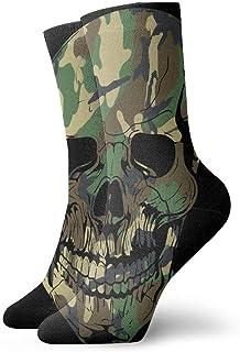 Socks Camo Skull Cushion Sport Hiking Working Crew Socks for Men