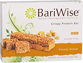 BariWise Crispy Protein Bar - Peanut Butter (7ct), High Protein Bars, Trans Fat Free, Aspartame Free