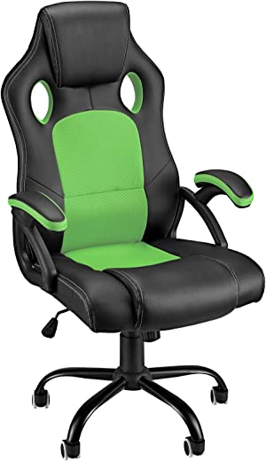 Gaming Stuhl Rot und Schwarz Bürostuhl Hohe Rückenlehne Racing Computer Video Game Stühle Ergonomische Armlehne Bequem PU Leder Mesh Arbeitsstühle…