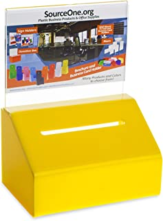 Source One Heavy Duty Donation/Ballot Box with Lock and Sign Holder (1 Pack, Yellow)