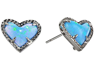 Kendra Scott Ari Heart Stud Earrings (Rhodium Ocean Opal) Earring