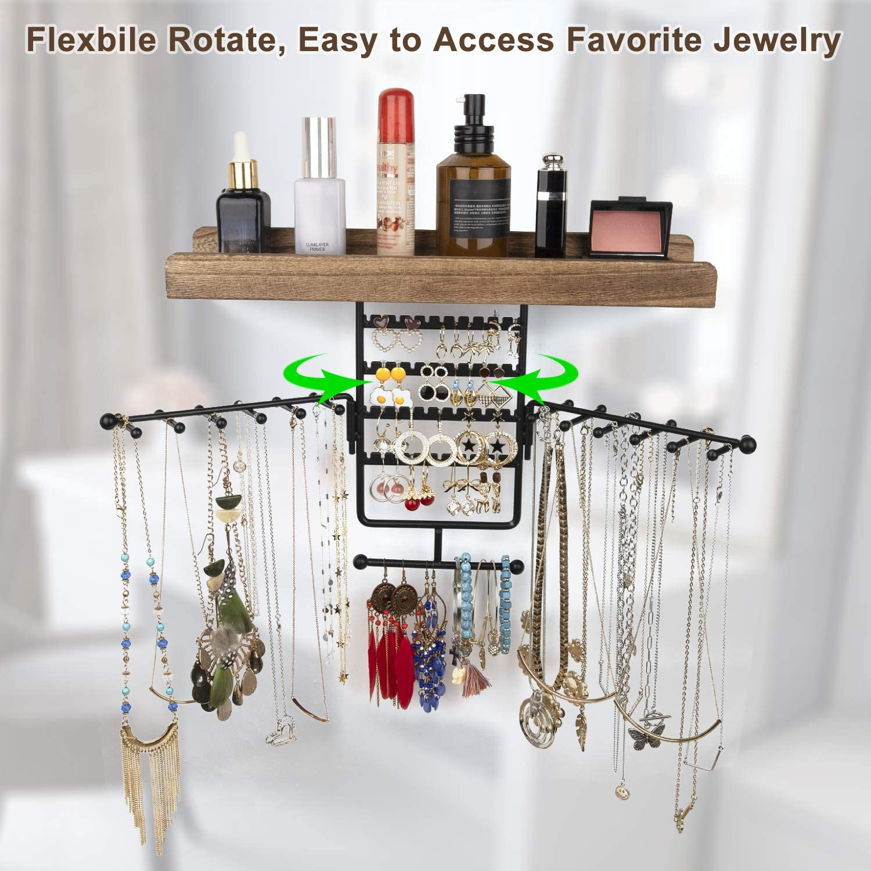 Buy Jewelry Organizer Wall Mounted Rotating Jewelry Holder Hanging ...