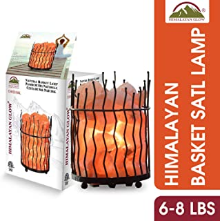 Himalayan Glow Pillar Style Basket Night Lamp with Pink Salt Chunks,Pink Salt Nightlight,Salt Lamp Bulb,(ETL Certified) Dimmer Switch,Ideal Gift & Home Décor