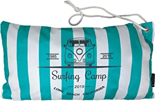 HOMELEVEL Cojín de playa, impermeable, 55 cm x 30 cm, con cordón de transporte, cojín relleno, para tumbona de viaje, playa, piscina, playa, jardín, viaje, (Surfin Camp Mint)