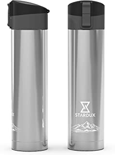STARDUX Simple Water Bottle, Sports Reusable Wide Mouth Stainless Steel Double Insulated Flask Thermos for Fitness, Gym, M...