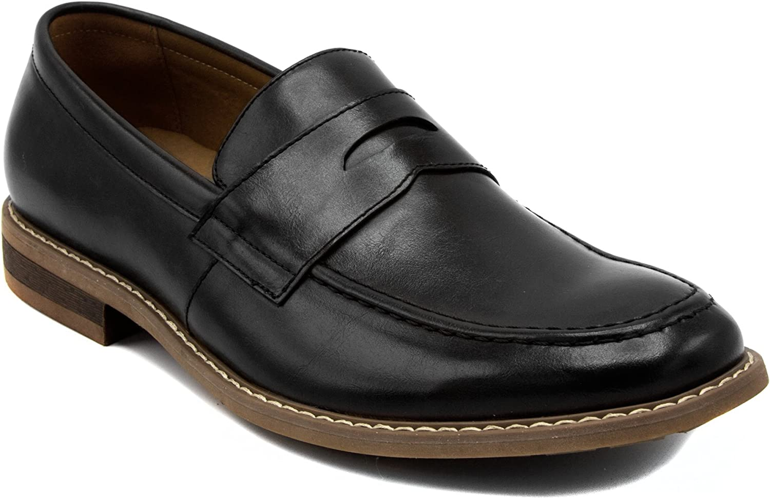 Nautica Men's Dress shoes, Lace Up Oxford, Slip On Moc Toe Loafer-Elias-Black Smooth-13