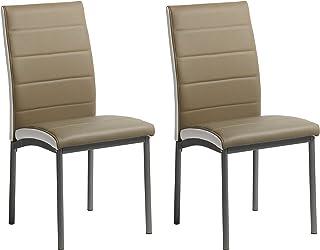 Miroytengo Pack 2 sillas Comedor Meli Salon Cocina Camel Estilo contemporaneo Polipiel Modernas 92x54x45