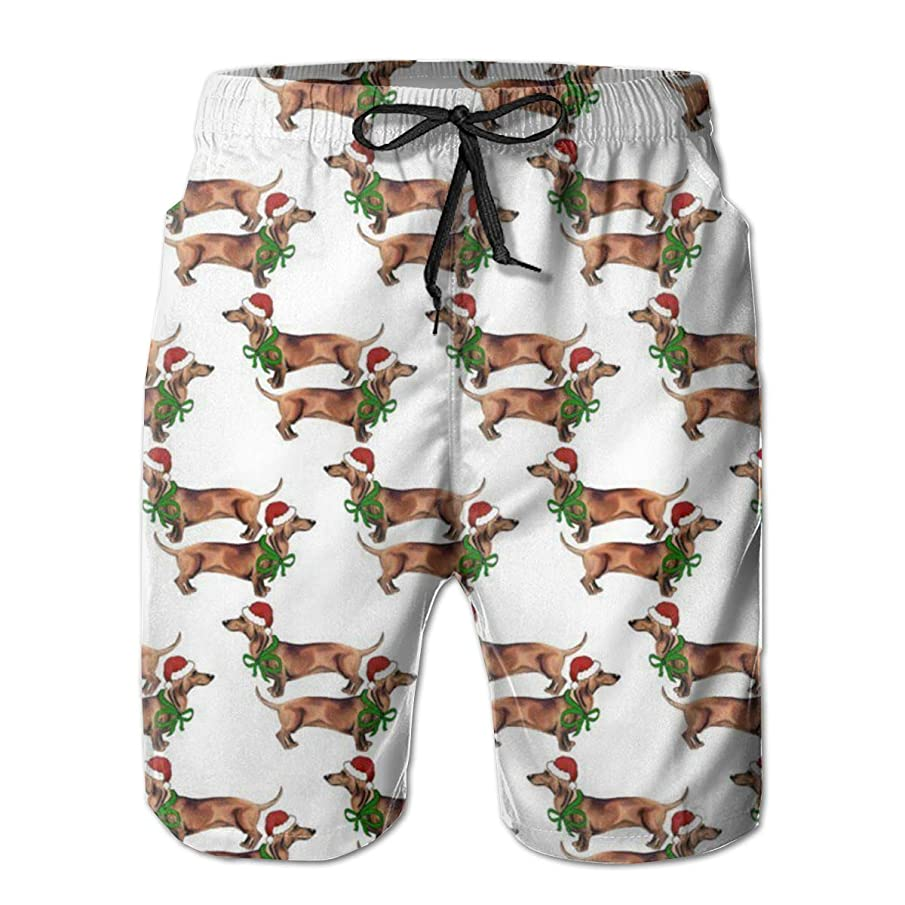 Christmas Dachshunds Men Swim Trunks Drawstring Elastic Waist Surfing Beach Board Shorts with Mesh Lining