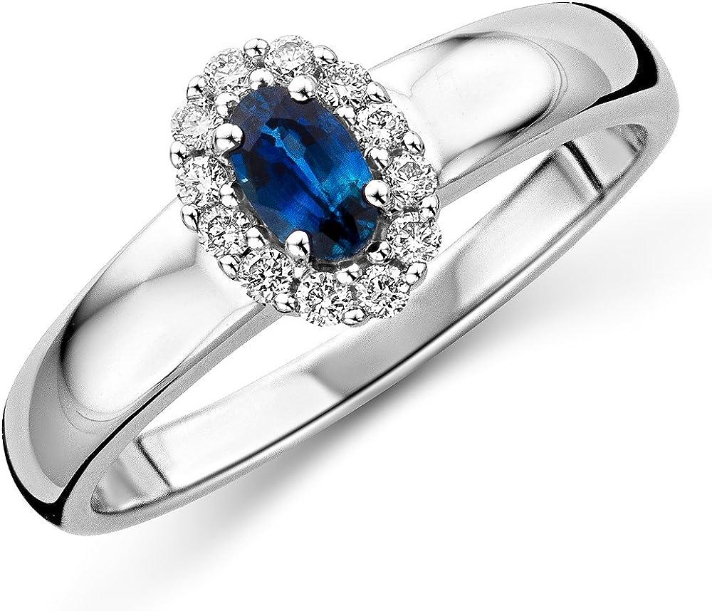 Miore,anello per donna,in oro bianco 9 kt/(375)(3,1 gr),e pietra di zaffiro 0,15 ct MF9170R52