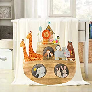 BJOLEdS Ship with Animals Throw Blanket Children's Watercolor Illustration of a Cute Noah's Ark with Animals Extra Soft Warm Lightweight Cozy Flannel Plush Blankets for Bedding Sofa Couch 48 X 60 Inch