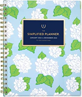 """$27 » 2022 Weekly & Monthly Planner Simplified by Emily Ley for AT-A-GLANCE, 8-1/2"""" x 11"""", Large, Customizable, Carolina Hydrang..."""