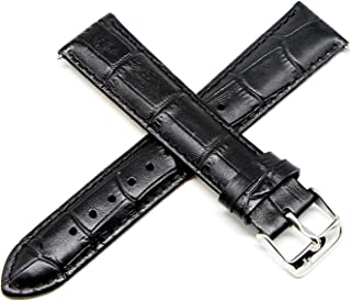 20MM Alligator Grain Genuine Leather Watch Strap 8 Inches Black Silver Fits Grivola Ortlet