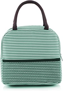 Miomao Insulated Lunch Bag Reusable Cooler Lunch Tote Bag for Adults Women Men Leakproof Lunch Box for Work Office Picnic School Green White Stripes