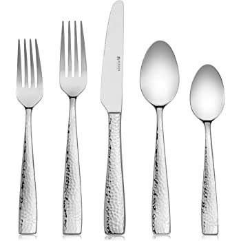 Hudson Essentials 40-Piece Hammered 18/10 Stainless Steel Flatware Silverware Set, Service for 8 (40-Piece Set)