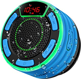 Bluetooth Speakers, DuoTen IPX7 Waterproof Wireless Portable Bluetooth Speakers w/LED Display, FM Radio, Suction Cup, Ligh...