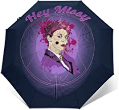 Hey Missy The Mistress Doctor Who Windproof Compact Auto Open And Close Folding Umbrella,Automatic Foldable Travel Parasol Umbrella