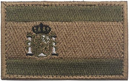 Parche bordado con bandera de España para coser 8 x 5 cm, diseño de militar militar y militar con gancho y respaldo de bucle (verde militar): Amazon.es: Hogar