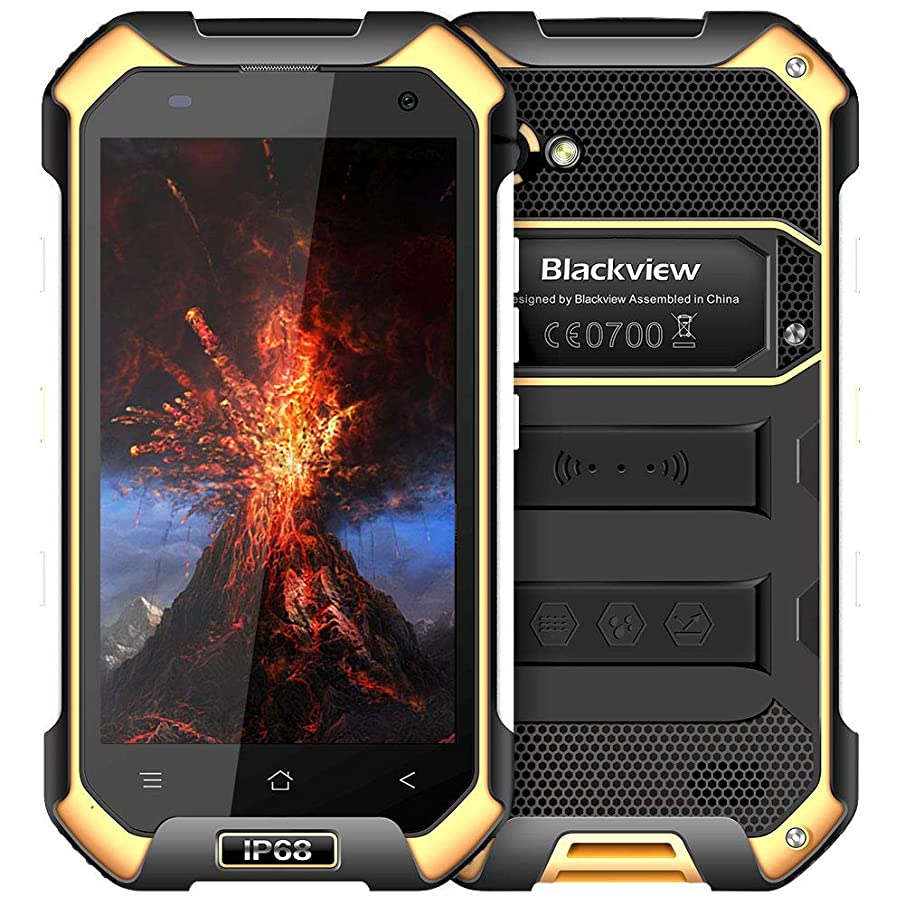 Rugged Cell Phones Unlocked,Blackview BV6000S Unlocked Smartphones IP68 Waterproof,Android 7.0 4G Dual SIM,4.7 Inch Quad Core 2GB+16GB,4500mAh Battery,[MIL-STD 810G],NFC,for AT&T T-Mobile,Yellow