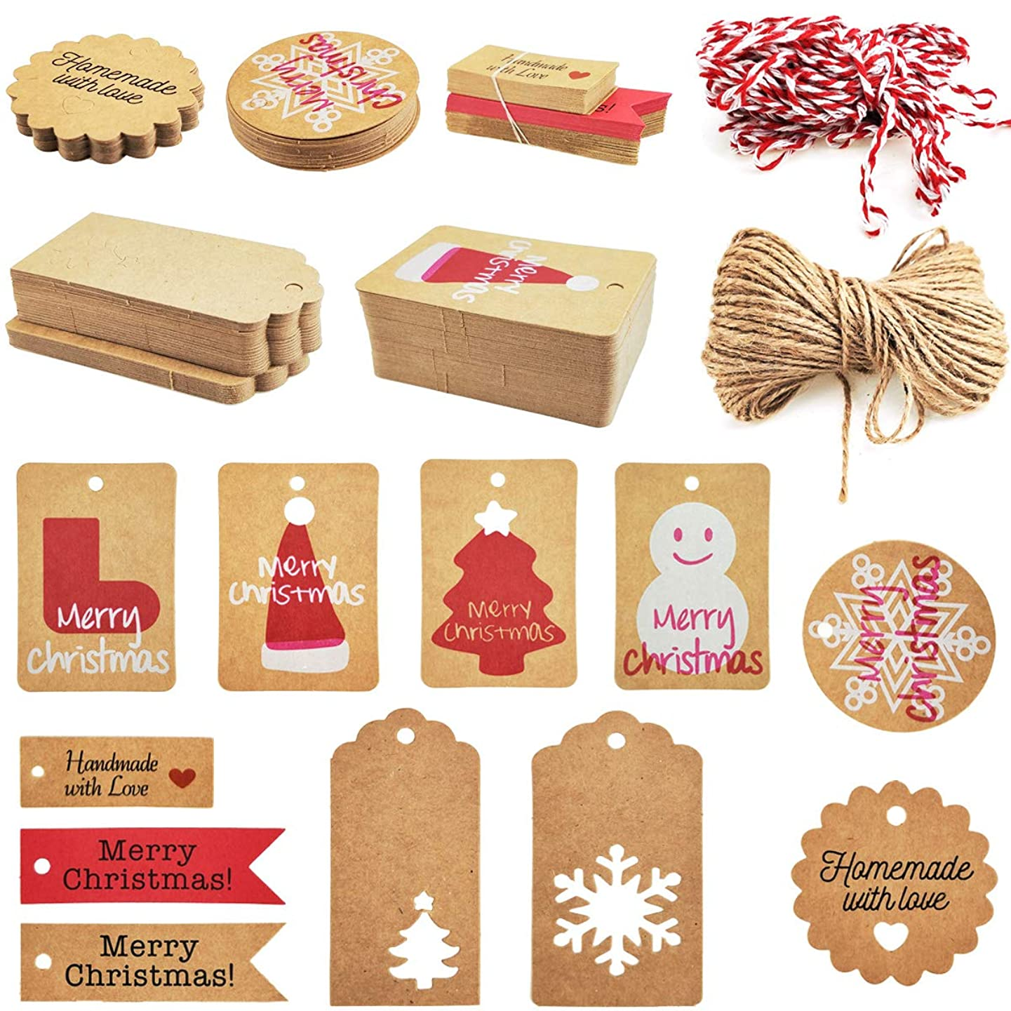 BeautyMood 240PCS 12 Styles Christmas Kraft Paper Tags, Brown Christmas Kraft Gift Tags Hang Labels Xmas Tree Snowflake Reindeer For DIY Arts Crafts Package Name Card Merchandise Tags With 30 Meters T