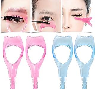 Honbay 4PCS 3 in 1 Transparent Plastic Eyelashes Tool Mascara Applicator Eyelashes Guide Eyelashes Comb Makeup Tool,Pink and Blue