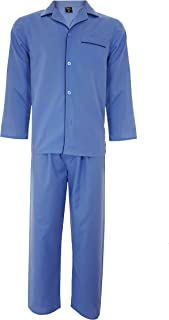 Cargo Bay Mens Plain Woven Polycotton Pyjama Set Nightwear Long Sleeve