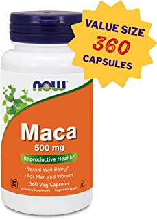 NOW Foods Maca 500 MG Capsules, 360 Count Amazon Exclusive Value Size, High Potency Maca Root Supplement, Vegan, Non GMO, Gluten Free