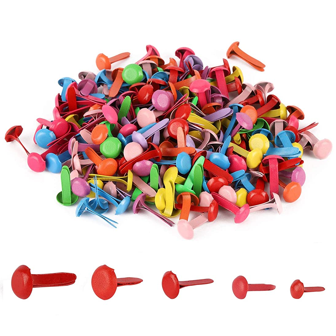 1000 Scrapbooking Brads Colorful Paper Fasteners Round Metal Brad for Crafts Making DIY 5 Size Random Color
