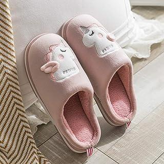 Zapatillas De Casa Para Mujer,Otoño E Invierno Cartoon Antideslizante Unicornio Rosa Zapatillas De Algodón Caliente De Felpa Suave Silencio Inferior Zapatillas De Casa Habitación Interior Zapatos Z