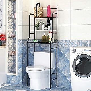Mueble Estantería Baño Encima WC 3 Niveles para Toalla de Baño Organizador de Artículos de Tocador (Negro)