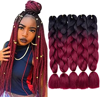 5PCS Synthetic Ombre Braiding Hair Ombre Jumbo Braiding Hair Extensions High Temperature Kanekalon Hair Extension 1B/99J Color(24'', Black/Red Wine)