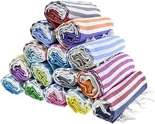 HAVLULAND Sale Set of 6 XXL Turkish Cotton Bath Beach Spa Sauna Hammam Yoga Gym Hamam Towel Fouta Peshtemal Pestemal Blanket - Set of [6]