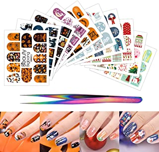 BEAUTYBIGBANG 10 Sheets Nail Art Stickers Water Transfer Decals with Nail Tweezers Halloween and Christmas Theme DIY Decoration for Girls Women Gifts
