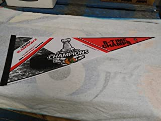 2015 CHICAGO BLACKHAWKS 6 TIME CHAMPION STANLEY CUP HOCKEY PENNANT FULL SIZE 30 X 14