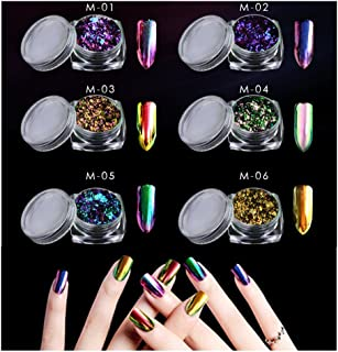 CHARMING MAY Nail Sequins Mirror Effect Paillette Nail Flakies 0.2g (Chameleon Flakes)
