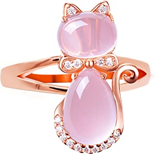 Uloveido Rose Gold Plated Pink Cat Women Cocktail Statement Rings for Girls with Simulated Cat Eye Stones Size 6 7 8 9 Y428
