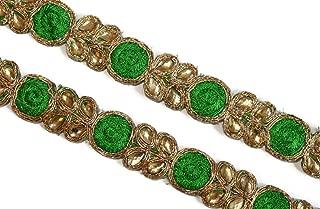 09 yards of green scarf dress border kundan embellishment by iDukaancrafts