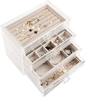 صندوق مجوهرات اكريليك شفاف من ديتوكو مع 4 ادراج بتصميم مقسم وقابل للازالة لتخزين الاقراط والعقود والخواتم ومخصص للنساء بال...
