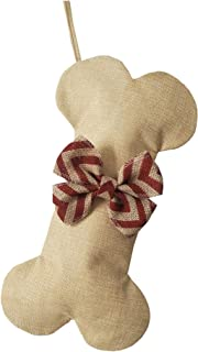 NEW Linen Dog Bone Christmas Stockings for Pet Jute Natural Burlap Holidays-16 inches x 8 inches 1# Red Bowknot (1 pack)
