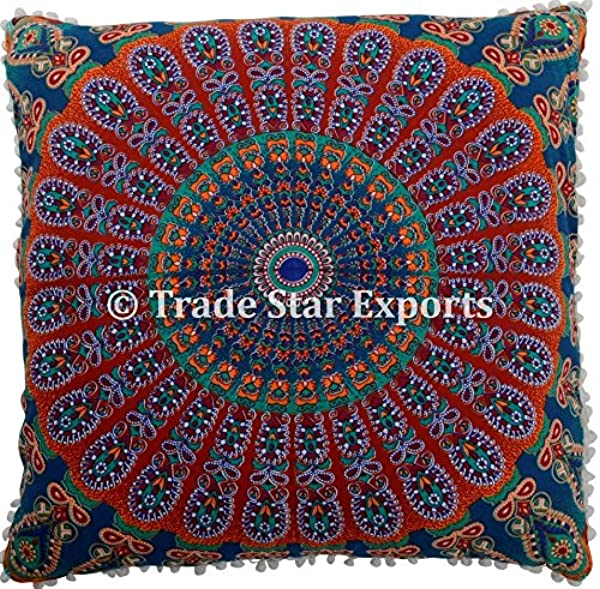 Trade Star Exports 26 X 26 Euro Pillow Sham Decorative Mandala Cushion Cover Large Meditation Pillow Ethnic Cotton Cushion Pattern 9