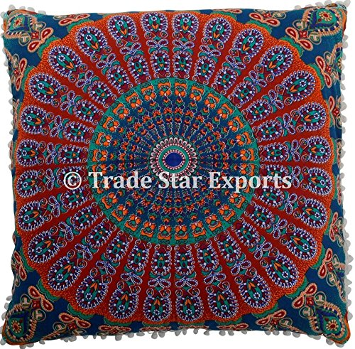26 X 26 Mandala Euro Sham, Ethnic Cushion Cover, Indian Large Floor Pillows, Hippie Cushion Cover with Pom Pom Lace, Bohemian Throw Pillow Cases (Pattern 9)