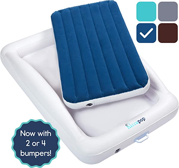 Hiccapop Inflatable Toddler Travel Bed With Safety Bumpers Portable Blow Up Mattress For Kids With Built In Bed Rail Navy Blue
